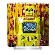 Rescue Robot Shower Curtain