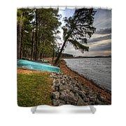 Reservoir Shoreline Shower Curtain