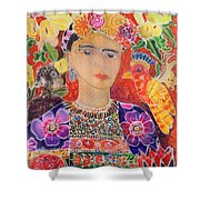 Respects To Frida Kahlo 2002 Coloured Ink On Silk Shower Curtain