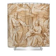 Rest On The Flight Into Egypt Shower Curtain by Federico Zuccaro
