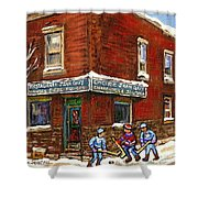 Restaurant Epicerie Jean Guy Pointe St. Charles Montreal Art Verdun Winter Scenes Hockey Paintings   Shower Curtain