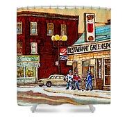 Restaurant Greenspot And Coin Vert Boutique Fleuriste Montreal Winter Street Hockey Scenes Shower Curtain