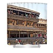 Restaurant In Bhaktapur Durbar Square In Bhaktapur-nepal Shower Curtain