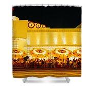 Restaurant Lit Up At Night, Miami Shower Curtain