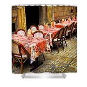 Restaurant Patio In France Shower Curtain