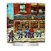 Restaurant Woodland Pizza Rue Wellington Verdun Original Hockey Art Montreal Paintings Commissions   Shower Curtain