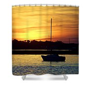 Resting In A Mango Sunset Shower Curtain