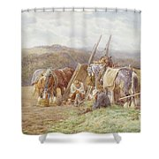 Resting In The Field  Shower Curtain by Charles James Adams
