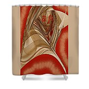 Resting Woman - Portrait In Red Shower Curtain