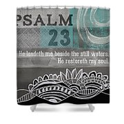 Restoreth My Soul- Contemporary Christian Art Shower Curtain by Linda Woods