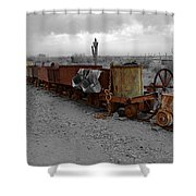 Retired Mining Ore Cars Shower Curtain