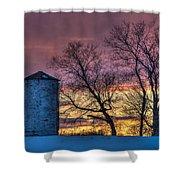 Retired Silo Watching Sunset Shower Curtain