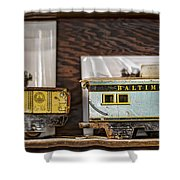 Retired Trains Shower Curtain