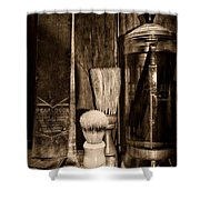Retro Barber Tools In Black And White Shower Curtain