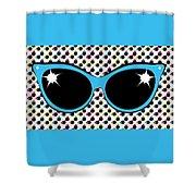 Retro Blue Cat Sunglasses Shower Curtain