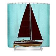 Retro Blue Sailing Shower Curtain