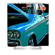 Retro Blue Truck Shower Curtain