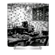 Retro Diner Bw Shower Curtain