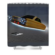 Retro Flying Objects Shower Curtain