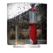 Retro Gas Pump On A Rainy Day Shower Curtain