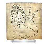 Retro Mermaid Shower Curtain