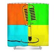 Retro Microphone Pop Art 2 Shower Curtain