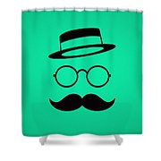 Retro Minimal Vintage Face With Moustache And Glasses Shower Curtain