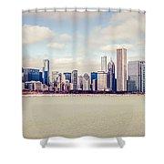 Retro Panorama Chicago Skyline Picture Shower Curtain