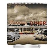 Retro Photo Of Historic Rosie's Diner With Vintage Automobiles Shower Curtain