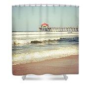Retro Photo Of Huntington Beach Pier  Shower Curtain