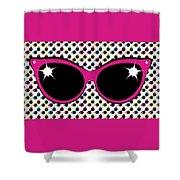 Retro Pink Cat Sunglasses Shower Curtain
