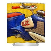 Retro Police Tricycle Shower Curtain
