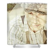 Retro Typist With Dream To Inspire Shower Curtain