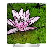 Retro Water Lilly Shower Curtain by Bob Christopher