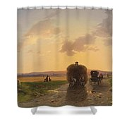 Return From The Field In The Evening Glow Shower Curtain