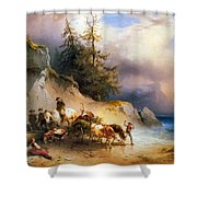 Return From The Mountain Pasture Shower Curtain