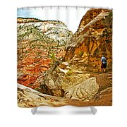 Return Trip On Hidden Canyon Trail In Zion National Park-utah Shower Curtain