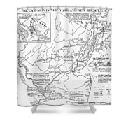 Revolutionary War Map, 1776 Shower Curtain