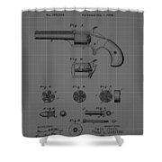 Revolver Firearm Patent Blueprint Drawing Shower Curtain