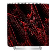 Rhapsody In Red H - Panorama - Abstract - Fractal Art Shower Curtain by Andee Design