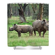 Rhino Family Shower Curtain
