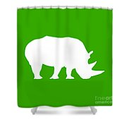 Rhino In Green And White Shower Curtain