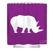 Rhino In Purple And White Shower Curtain