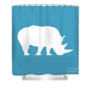Rhino In White And Turquoise Blue Shower Curtain
