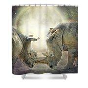 Rhino Love Shower Curtain
