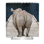 Rhino On The Dock Shower Curtain
