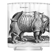 Rhinoceros No 76 From Historia Animalium By Conrad Gesner  Shower Curtain