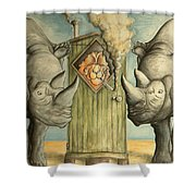 America Under Pressure - Anti Trump Cartoon Shower Curtain