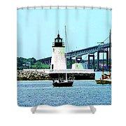 Rhode Island - Lighthouse Bridge And Boats Newport Ri Shower Curtain