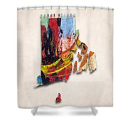 Rhode Island Map Art - Painted Map Of Rhode Island Shower Curtain